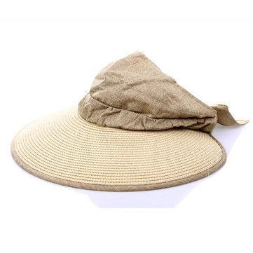 Women Ladies Linen Foldable Straw Hat Summer UV Protection Outdoor Wide Brim Beach Hat at Banggood