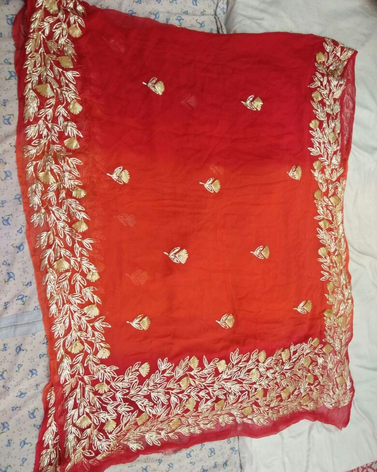 Pour chiffon saree full broder gotta patti work..