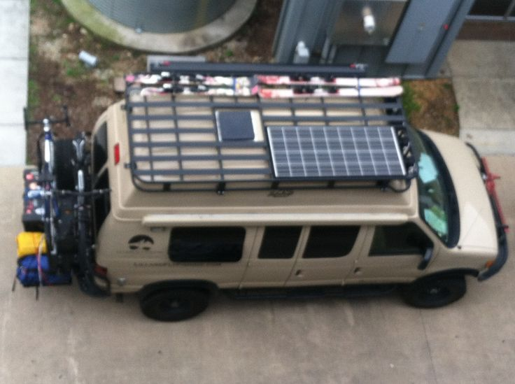 Aerial sportsmobile shot....a little blurry...but you get the idea! Aluminess roof rack, solar panel and skis!
