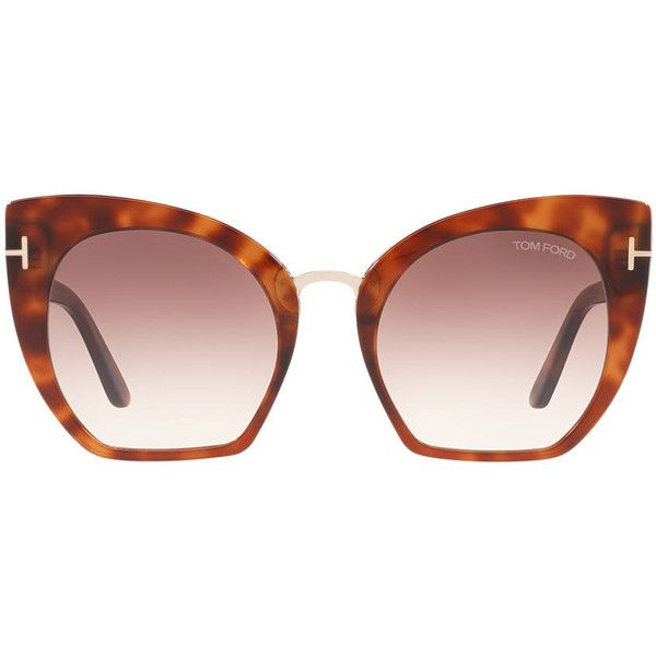 Tom Ford Samantha Tortoise Cat-Eye Sunglasses - ft0553 (£345) ❤ liked on Polyvore featuring accessories, eyewear, sunglasses, tortoise cat eye sunglasses, tortoiseshell sunglasses, tortoise cat eye glasses, cat eye sunglasses and cat-eye glasses