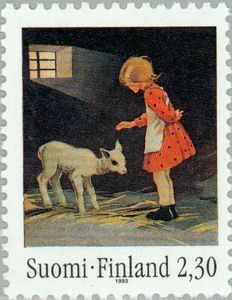 ◇Finland 1993 Girl with lamb