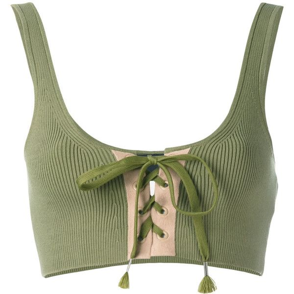 Fenty Lacing Long Bra (179 AUD) ❤ liked on Polyvore featuring activewear, sports bras, green, long sports bra, puma sports bra, puma sportswear, green sports bra and puma activewear
