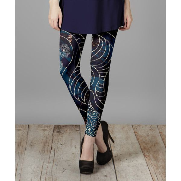 Lily Purple & Blue Floral Abstract Leggings ($13) ❤ liked on Polyvore featuring pants, leggings, plus size, women's plus size pants, print leggings, floral pants, plus size patterned leggings and blue leggings