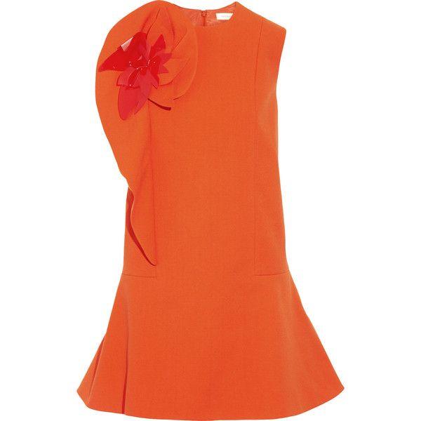 DELPOZO Appliquéd ruffled stretch cotton-blend crepe mini dress (1.614.345 COP) ❤ liked on Polyvore featuring dresses, bright orange, ruffle dress, crepe dress, frilly dresses, loose dresses and petite dresses