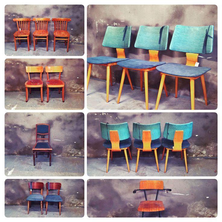 Retro stoelen , re-style! #vintage #keukenstoel #cafestoel www.als-nieuw.com