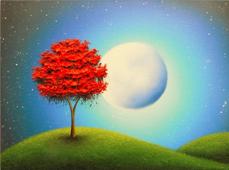 Original Oil Painting, Full Moon Wall Decor, Red Tree Painting Nursery Art, Blue Night Textured Canvas Art, Moon Landscape Painting, 12x16 by BingArt on Etsy