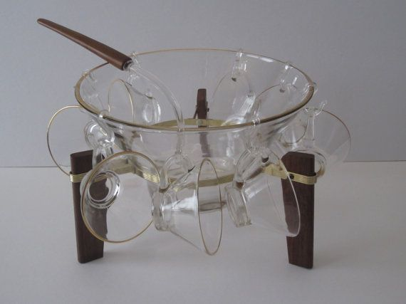 Gold Rimmed  Eclectic Punch/Serving Bowl by ElementreeOldSkool