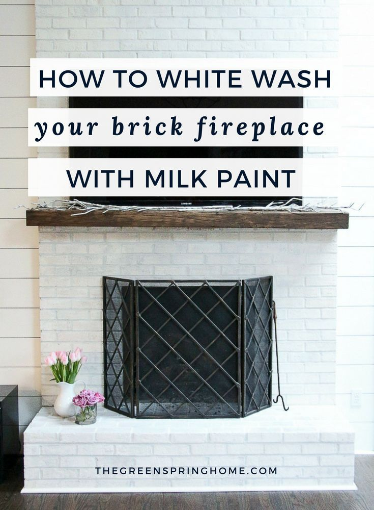 Click to read this cheap and easy DIY tutorial!  Brick Fireplace Makeover | Brick Fireplace Remodel | Brick Fireplace D�cor | Milk Paint Projects