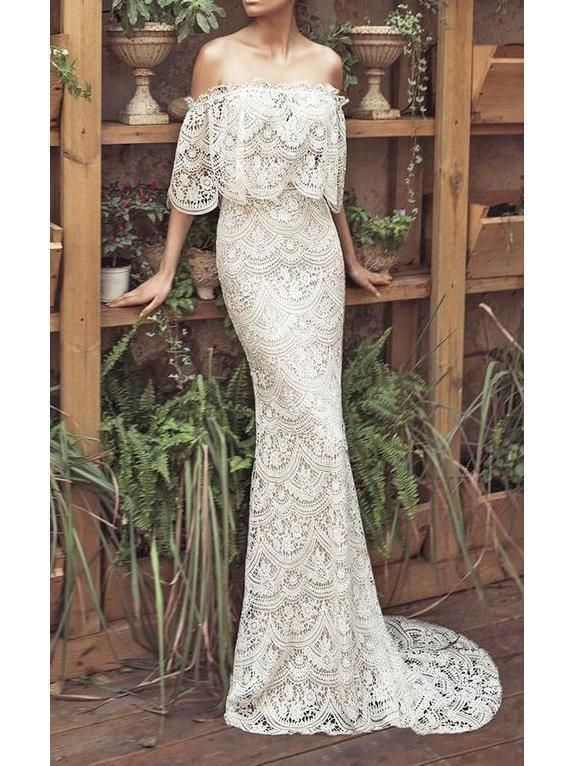 Off The Shoulder Mermaid Lace Wedding Dresses Vintage Rustic Dress Awd1151 Sheer