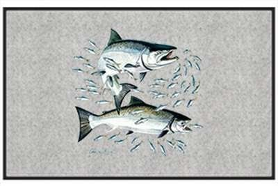 """Salmon - Freshwater Fish - Gray - Door and Welcome Mat by Express Yourself Mats. $24.88. Personalization Available (choose above) - EMAIL TEXT TO SELLER AFTER CHECKOUT. Door Mat Size 27""""x18"""". Made in USA. Non-Skid Backing. Great Gift Idea!. Enjoy the Salmon design heat pressed on this light-weight, low pile, woven polyester door mat. This decorative welcome mat measures 27 x 18 inches, is 1/8 inch thick and features a non-skid latex coating on the back with black fabric pip..."""