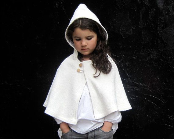 Girls CAPE Jacket Dressy Shrug - Weddings Accessory - Snow White Boiled Wool Capelet Hood Size 12 months 1T to 3T - Modern Kids Fall Fashion. $75.00, via Etsy.