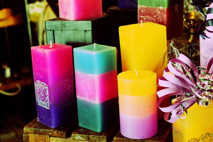 """These Porvoon kynttiläpaja candles are made as Finnish handcraft by Marjo Lehtosalo and are sold at Istra  Ilmatar nearby the Raatihuoneentori square at Jokikatu. No wonder the shop is called """"the house of colours"""", these are an excellent gift idea or home decoration. www.visitporvoo.fi"""