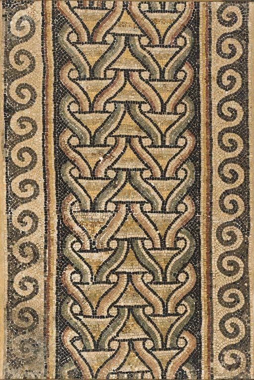 A BYZANTINE MARBLE MOSAIC PANEL Circa 5th-6th Century A.D. The rectangular panel with a double interlocking guilloche pattern between two bands of wave 33 in. (83.8 cm) wide, 49 in. (124.5 cm) high
