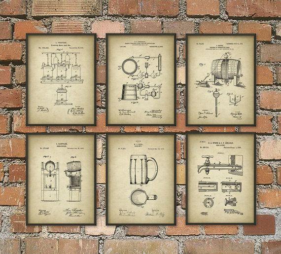 Bier brouwen Patent Prints Set van 6  bier Poster door QuantumPrints
