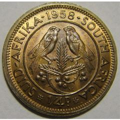 Union of South Africa : Farthing (Quarter Penny) of 1958 in UNCIRCULATED condition (MINT STATE) for R43.05
