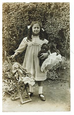 Girl with Dolls Doll Chair Antique Photo on Postcard | eBay