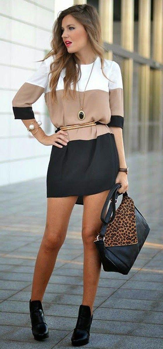Black Color Block Print Three Quarter Length Sleeve Chiffon Dress - Mini Dresses - Dresses