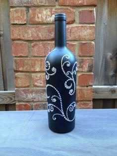 Tabel Numbers Wedding- wine bottle, sliver rhinestones, black chalkboard on Etsy, $15.00
