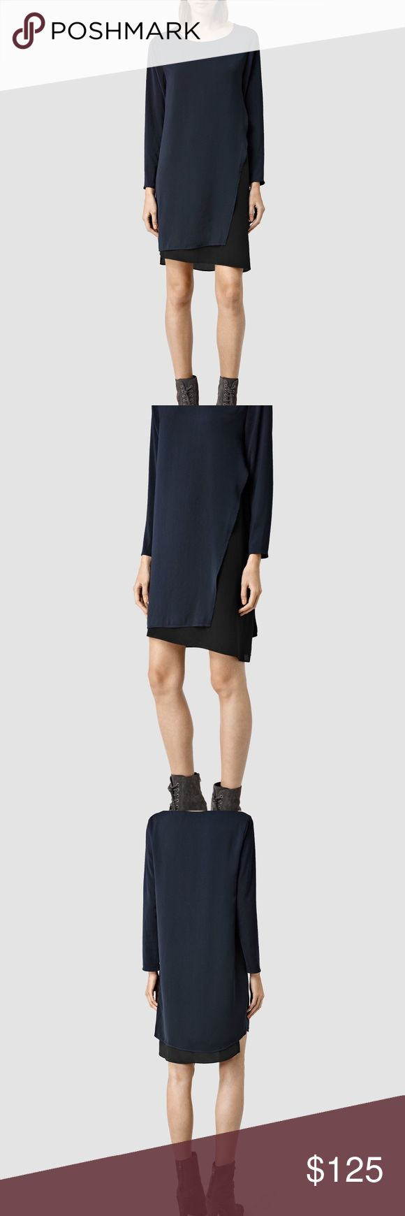AllSaints Dress AllSaints Roder Dress Feels like butter on Sleeves are silk and have no give  Outer: 100% Polyester Inner: 55% Viscose, 45% Silk All Saints Dresses Midi
