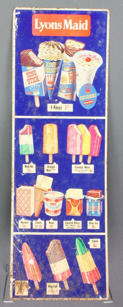 "Lot 302, An enamelled advertising sign for Lyons Maid Ice Creams 27"" x 9"", some corrosion, est £100-150"
