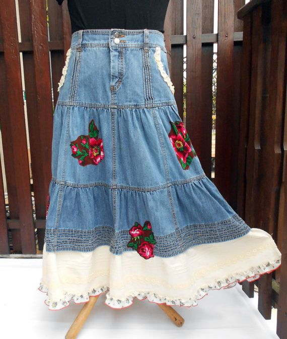 L xl long crazy patchwork skirt women 39 s upcycled boho for Chaise patchwork xl style