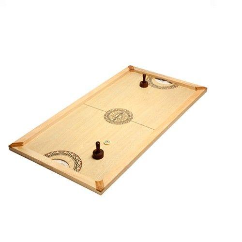 Shuffle Puck Mango 130 : Le Shuffle-Puck, est un jeu de palets très simple et redoutablement efficace : Il se joue avec un palet et deux frappeurs. Le but du jeu consiste à frapper le palet et tenter de le rentrer dans le but de l'adversaire. http://www.supreme.fr/catalogsearch/result/?q=SHUFFLE