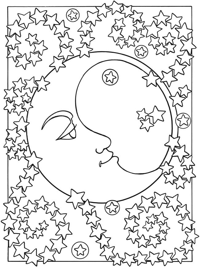Sun Moon And Stars Designs To Color Dover Publications Sample