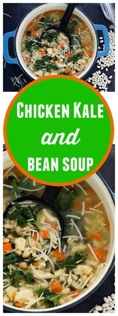 Chicken Kale and White Bean Soup - Gluten Free Healthy Chicken, Kale and Bean soup with some fresh Parmesan. So GOOD!!!