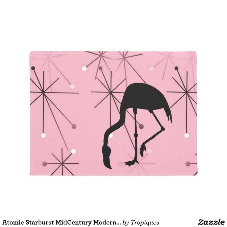 Atomic Starburst MidCentury Modern Flamingo Pink Doormat