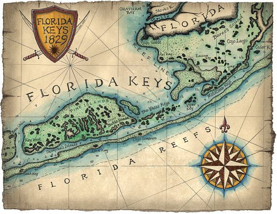 Florida Keys Reef Map Art c.1829 12 x 16 Key by GeographicsArt