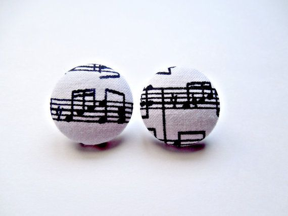 Handmade Fabric Covered Button Earrings Black by ShineOnMeJewels