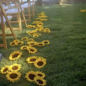 Sunflowers down the aisle