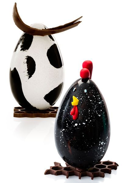 Oeuf vache et oeuf poule constellée - Patrick Roger : garnies de chocolats noir et lait. à partir de 55 euros