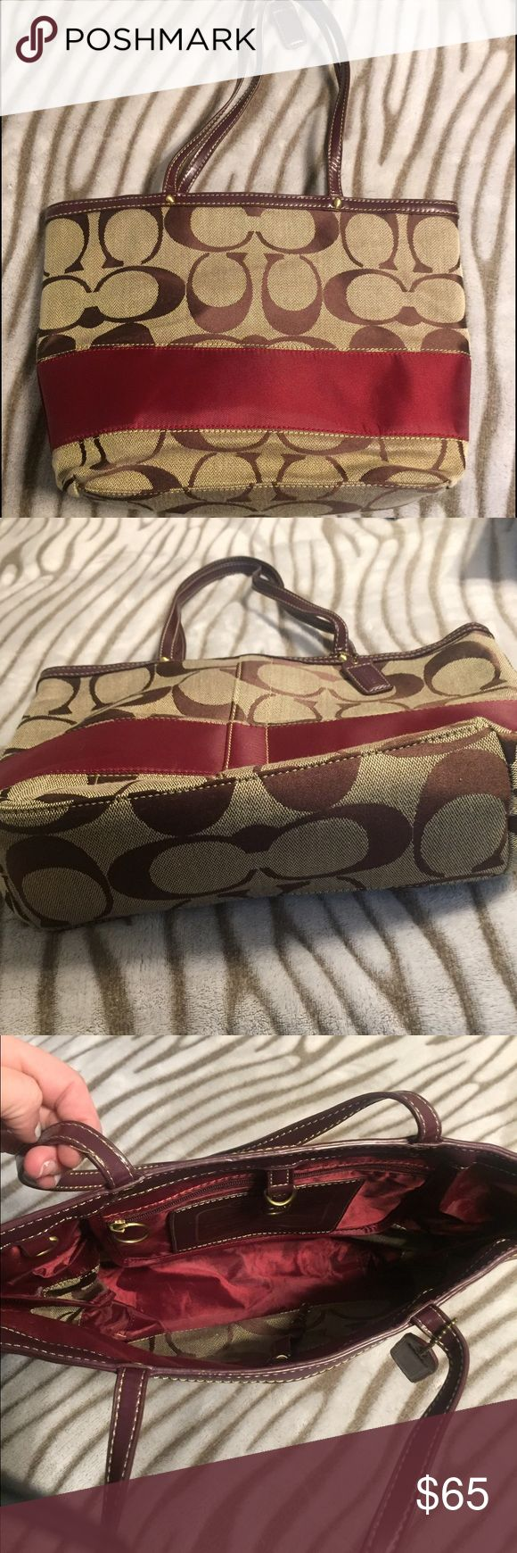 Coach tote bag Coach tote bag berry and brown excellent condition! Comes with box. I never used it it's been stored Coach Bags Totes