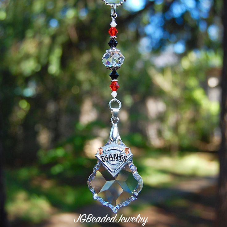 San Francisco Giants Decoration, Crystal Suncatcher, MLB SF Giants Rearview Mirror Car Charm, Window Prism Crystal, Other Teams Available by JGBeadedJewelry on Etsy https://www.etsy.com/listing/280986438/san-francisco-giants-decoration-crystal