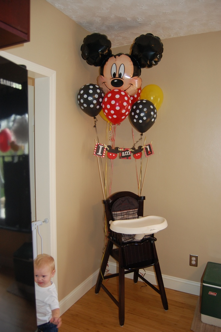 Mickey mouse birthday! Happy birthday ! High chair decor ! Looks great for photos!