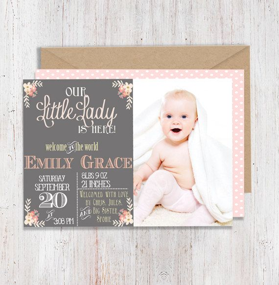 Best 25 Girl birth announcements ideas – Announcement of Birth of Baby Girl