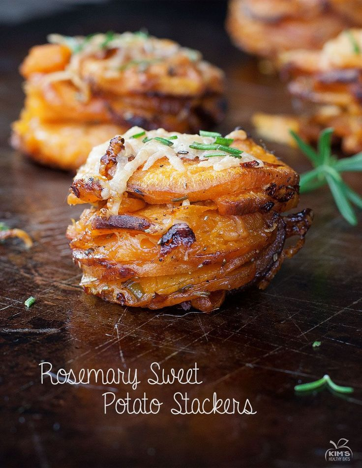Rosemary Sweet Potato Stackers. No need to limit yourself to the muffin tin. A baking sheet worked just as well. Yum!
