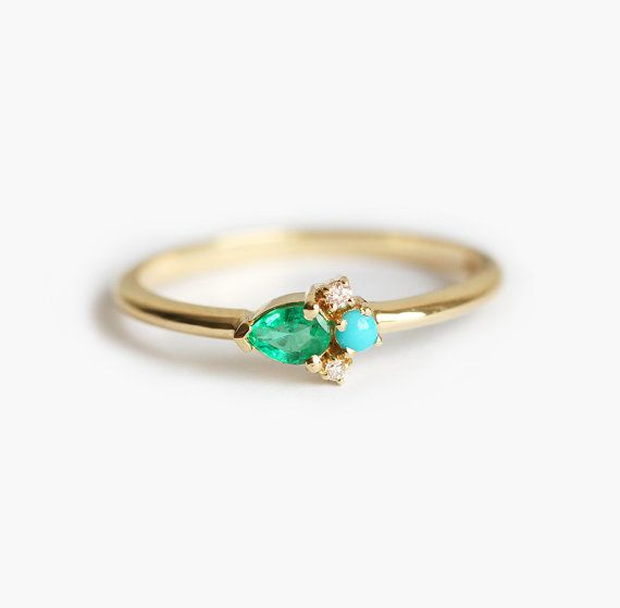 Emerald Ring Emerald Pear Ring Emerald And Turquoise by MinimalVS