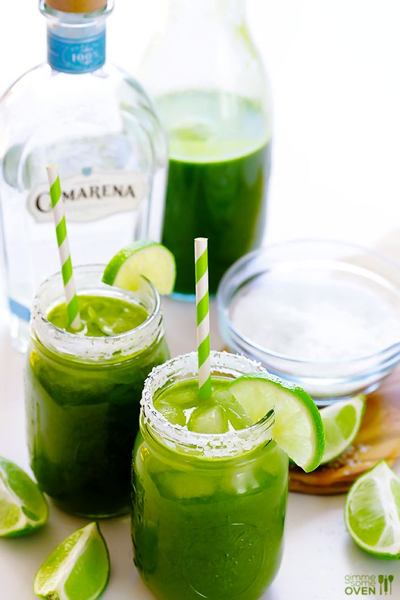 5-Minute Green Margaritas Recipe -- made easily with your favorite homemade or store-bought green juice! | gimmesomeoven.com