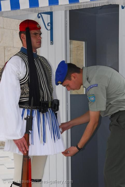 inspecting the guard, Evzones, at the Parliament Building