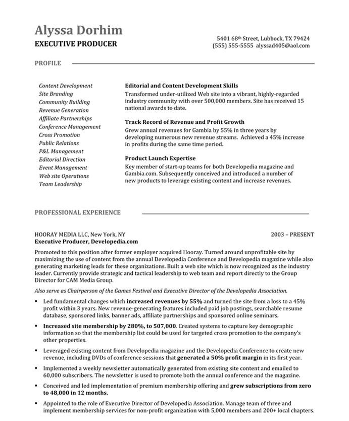 associate producer resume sample