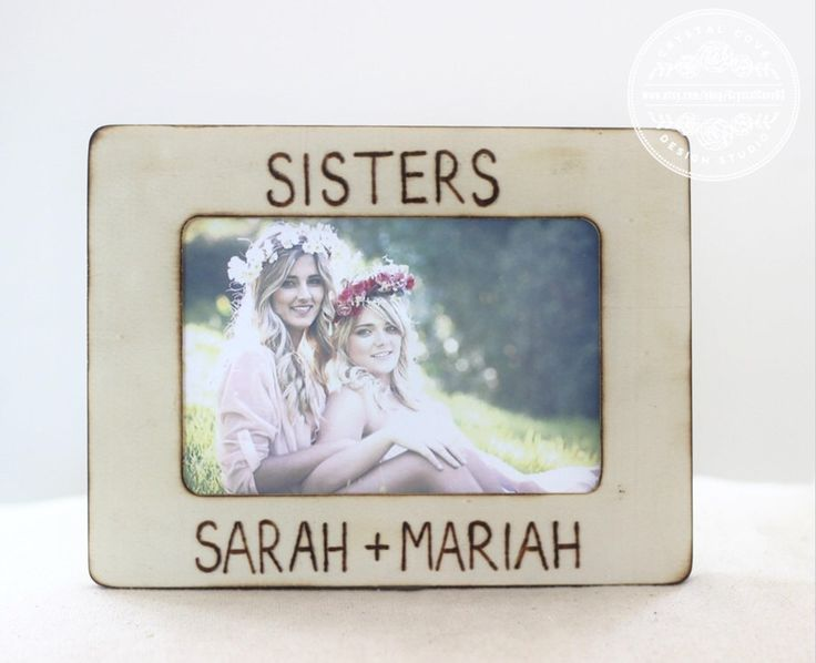 sister gift personalized picture frame wood rustic engraved frame for sister maid of honor step sister - Engraved Photo Frames
