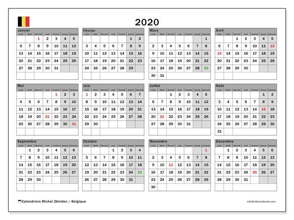 Calendrier 2020 Gratuit.Calendrier 2020 Belgique Calendrier 2018 Calendrier