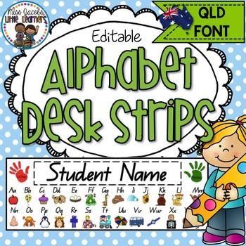 QLD Beginners Font Alphabet Desk Strips:These QLD Font Alphabet Desk Strips are…