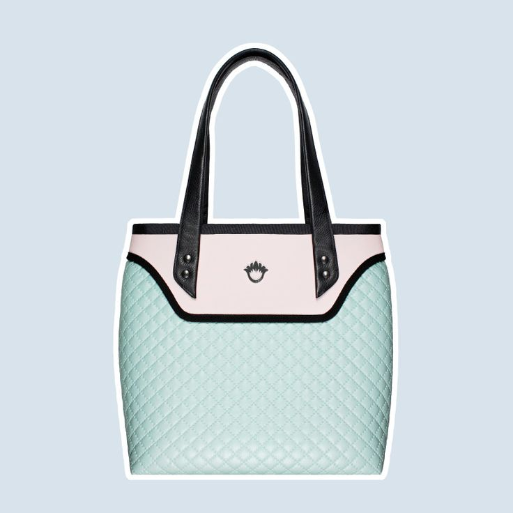 GOSHICO, ss2015, Flowerbag (shoulder bag), pastel mint + pastel pink. To download high or low resolution photos view Mondrianista.com (editorial use only).