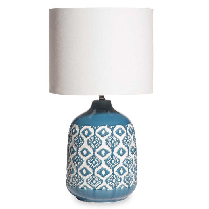 Lampada abat-jour in ceramica blu ed écru CAIXO