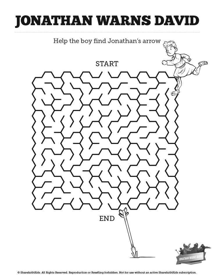 1 Samuel 20 David And Jonathan Bible Mazes