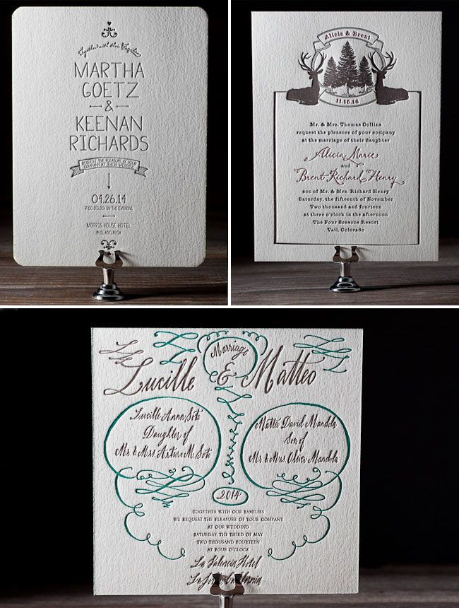 more wonderful letterpress invitations from bella figura--i love the one with deer and trees