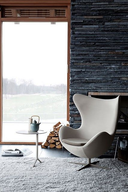 the classics are timeless #interiorsStones Fireplaces, Eggs Chairs, Fritz Hansen, Arnejacobsen, Stones Wall, Interiors, Living Room, Arne Jacobsen, Design